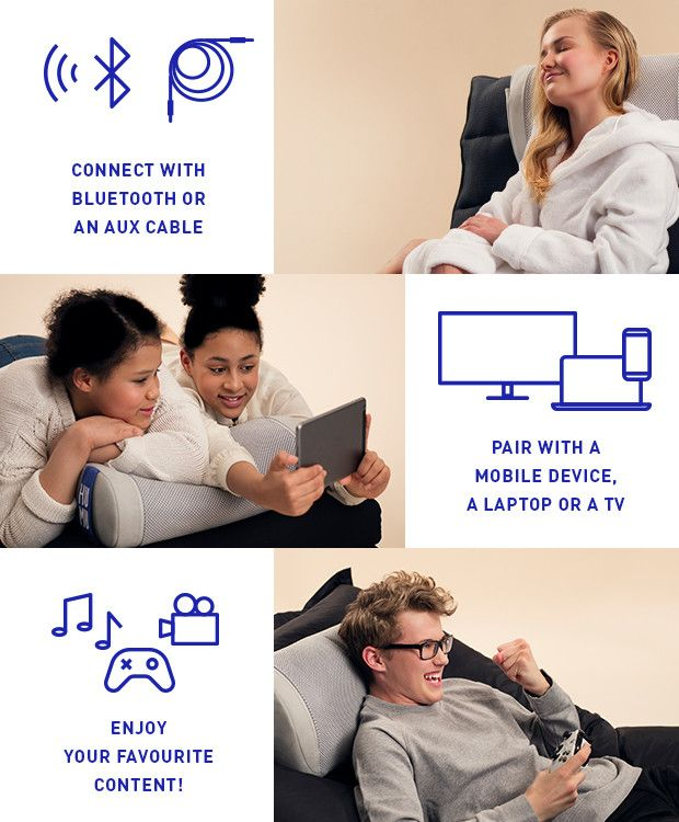 HUMU is your personal Smart Cushion, providing a unique experience. HUMU allows you to both hear the audio and feel the sound waves simultaneously. It feels absolutely fantastic!