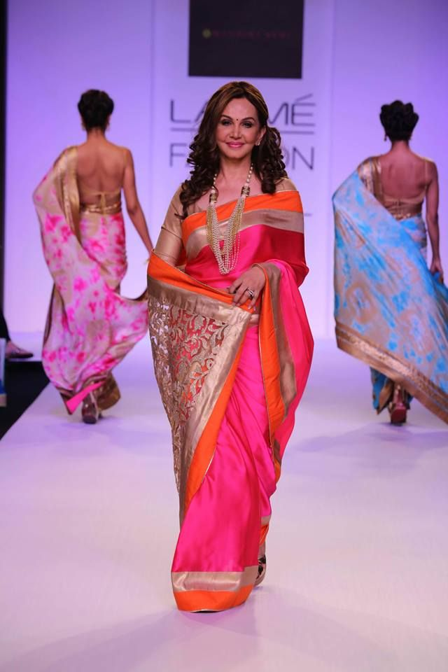 Mandira Bedi Lakme Fashion Week Summer 2014 pink orange gold sari. More here: http://www.indianweddingsite.com/mandira-bedi-lakme-fashion-week-summer-resort-2014/