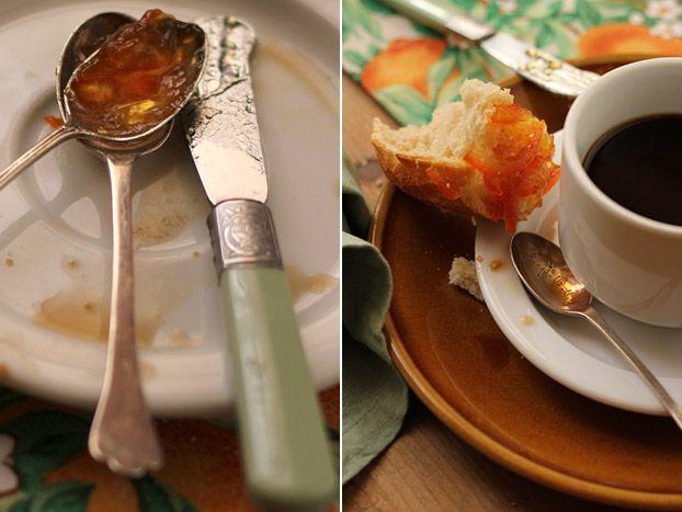 Homemade Seville marmalade on crusty bread for breakfast