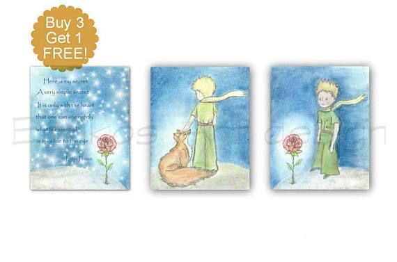 Little prince nursery wall art set of 3 art prints Prince