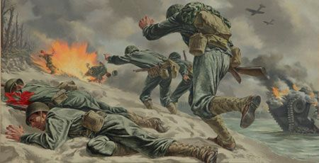 World War II action captured in this striking painting from, Tom Lea