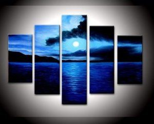Amazon.com: 100% Hand-painted Free Shipping Wood Framed on the Back Artwork Dark Blue Ocean White Sun High Q. Wall Decor Landscape Oil Painting on Canvas 5pcs/set Mixorde: Home & Kitchen
