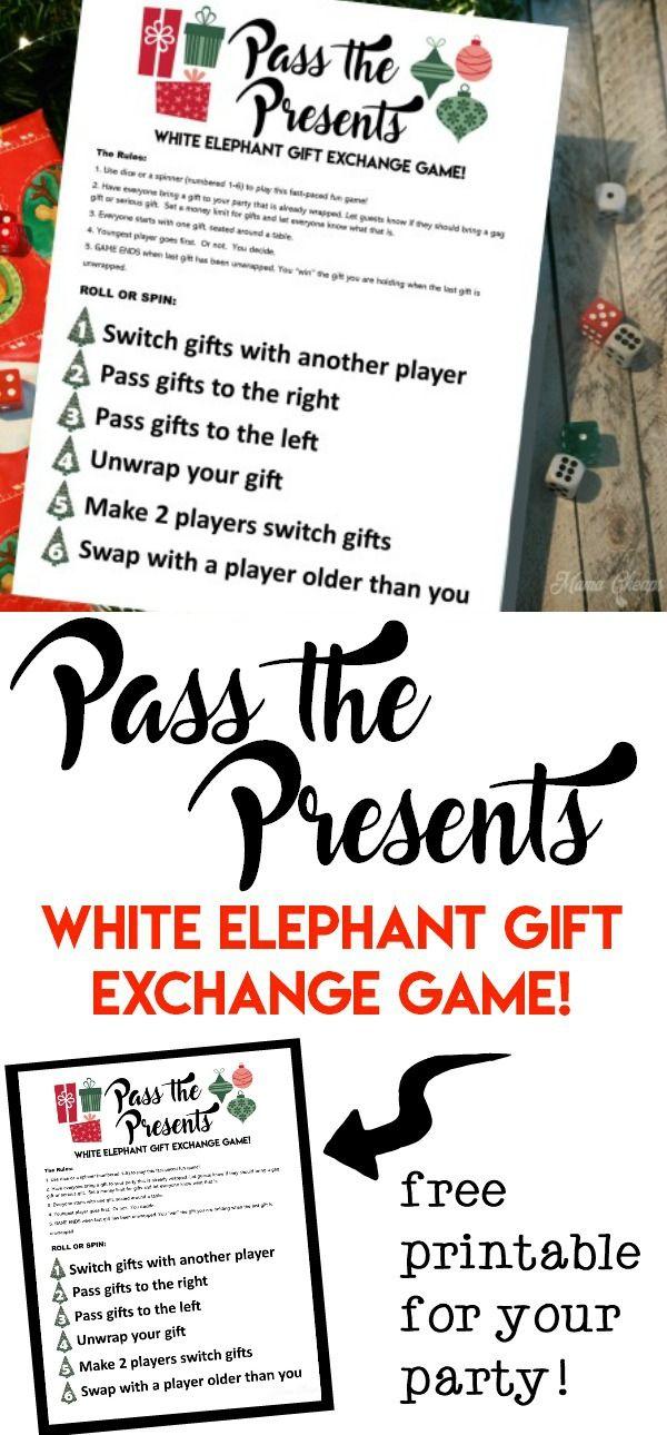 Pass The Presents White Elephant Gift Exchange Game Free Printable Mama Cheaps Christmas White Elephant White Elephant Gifts Exchange Gift Exchange Games