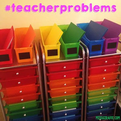 Must Have Classroom Supplies - rainbow drawers for organizing math centers, copies, or anything! Check out this list of awesome classroom resources