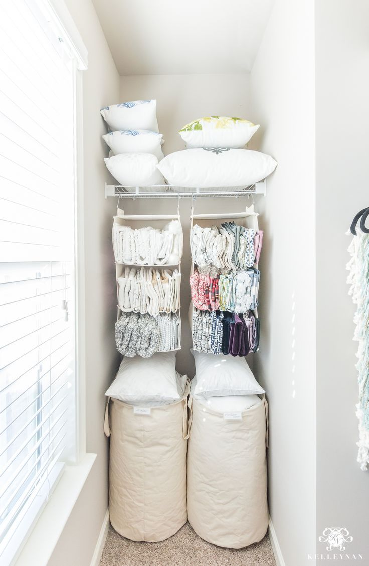 Gift Wrap Organization And Throw Pillow Storage Solutions Behind