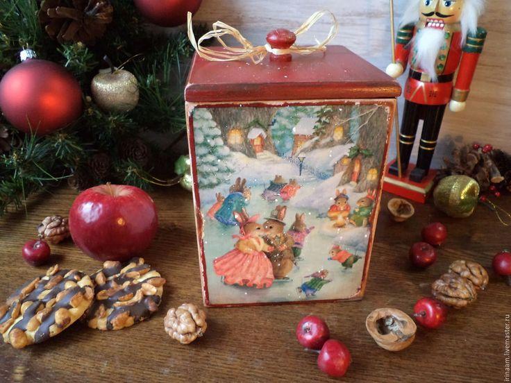 """Купить """"Зимняя прокулка"""" новогодний короб - разноцветный, коробочка для подарка, новый год 2016, Новый Год"""