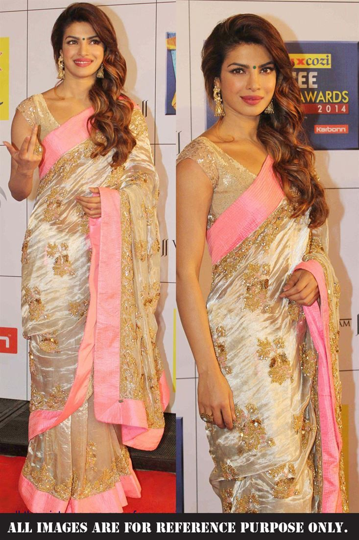 Priyanka Chopra Gold Georgette Saree