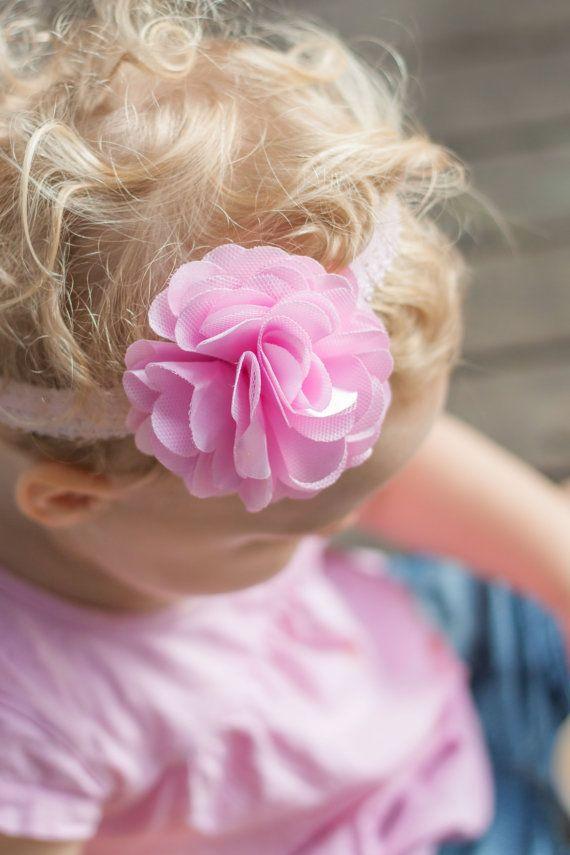 Pink Baby Girl Headband Lace baby headband by LaCharDesigns, $9.95
