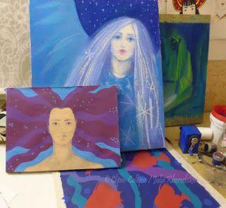 Working process(more pictures in the blog) :)  #artinprocess #artstudio #artistslife #woolpainting #fiberart #art #painting #pastel #fantasyart