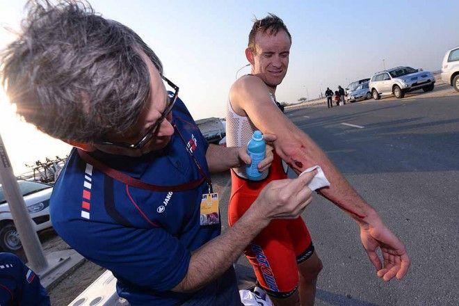 2014 Tour of Qatar, stage 1: treatment - Alexander Kristoff gets some medical attention. Photo: Tim De Waele   TDWsport.com