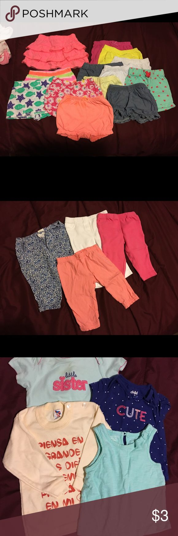 Bottoms, shorts, bath towels, a blanket and hat BABYGIRL 3-6 month shorts and pants, bath towels, wash cloths, a sun hat, shorts. I'm sorry but I don't remember the original price for everything so I'm gonna put $10. Some clothes is from Target, Carters, Etc. Bottoms Casual
