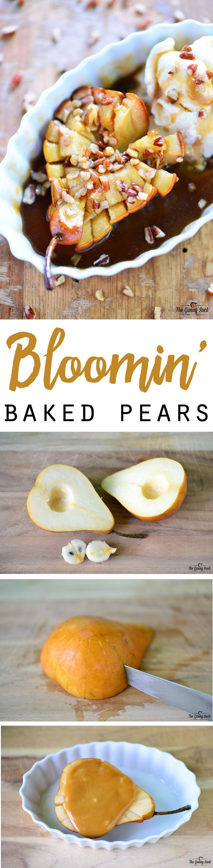 This Bloomin' Baked Pears recipe with butterscotch caramel and pecans is perfect for fall! Serve warm with vanilla ice for a special dessert!
