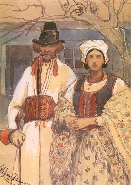 Włodzimierz Tetmajer (Polish, 1862-1923), 'Portrait of Jacek Mikołajczyk and Anna Tetmajer', watercolour, c.1890.