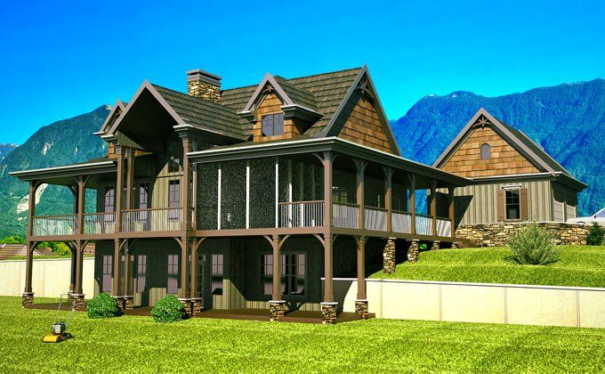 Open Floor Plan With Wrap Around Porch Banner Elk Ii Mountain House Plans Lake House Plans Rustic House Plans