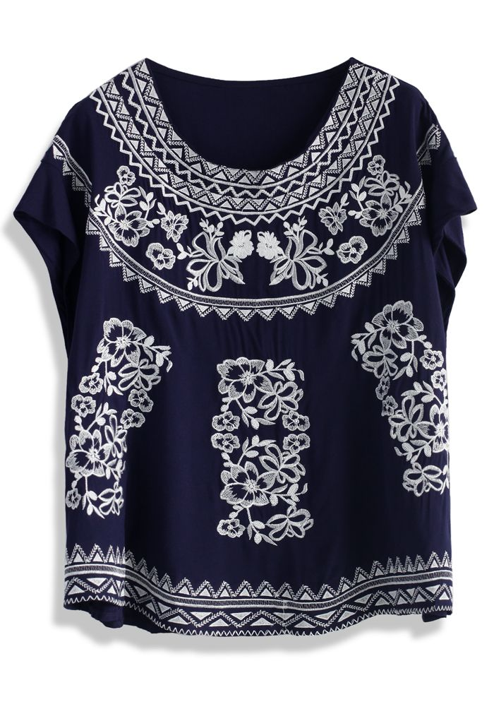 Botanic Embroidered Navy Smock Top - Short Sleeve - Tops - Retro, Indie and Unique Fashion