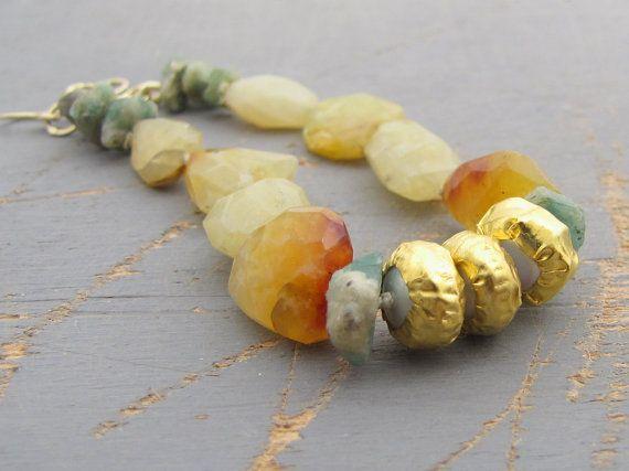 Opal Beacelet  Peruvian Yellow Opal Emerald & Fine Gold by Omiya