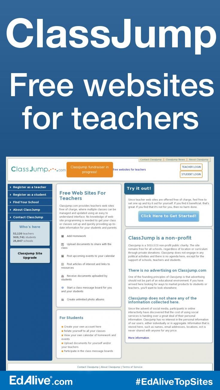 ClassJump | Free websites for teachers | Provides teacher's websites free of charge, where multiple classes can be managed and updated using an easy to understand interface. No knowledge of web site programming is needed to get your class or classes set up and quickly providing up-to-date information for your students and parents. #Tools #EdAliveTopSites