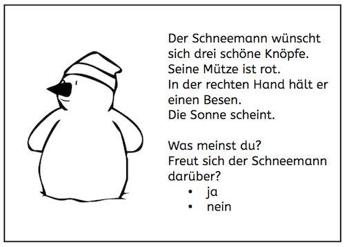 Gestern gab es lustige Nichtschnee-Schneemänner. Heute gibt es Lesemalblätter zu Schneemännern. Die Kinder lesen die Sätze und malen das Bild dementsprechend aus. Ideal für eine kurze Leseübung, für die Freiarbeit weiterlesen →