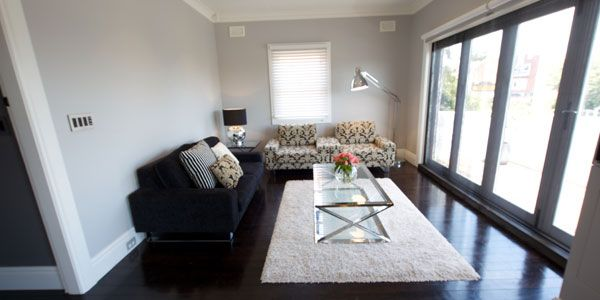 Taubmans Endure Grey Comfort – half strength (Jake & Erin's lounge room from 'The Block')