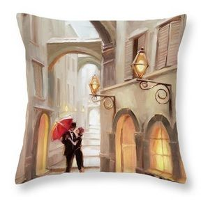Stolen Kiss home decor throw pillow from Steve Henderson Collections celebrating romance, love, and the kiss  #romance #love #kiss #throwpillow
