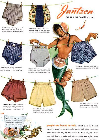 mermaid in a bonnet with an apron and a baby mermaid. Because girl metaphors were easy to mix! vintage Jantzen swimwear ad