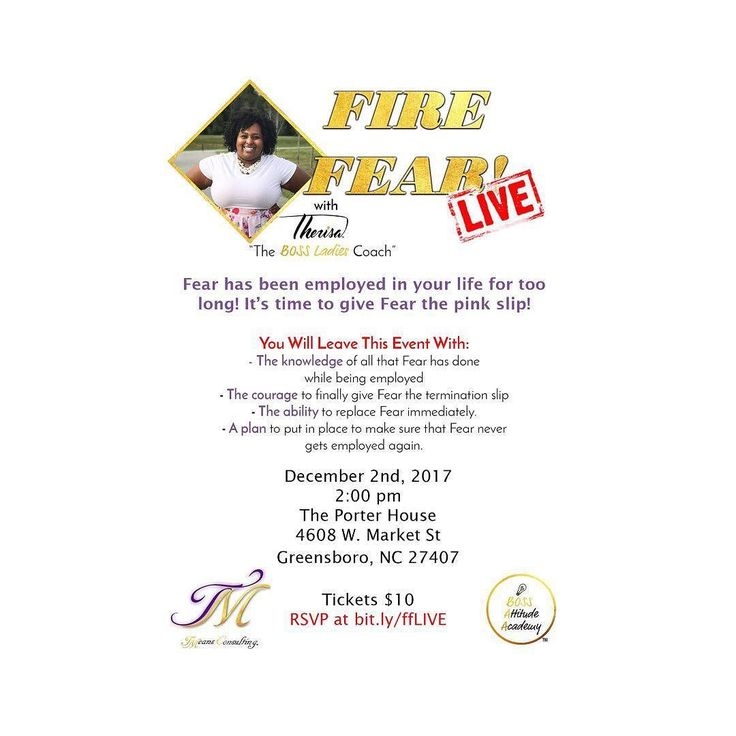 Come join me and finally prepare yourself AND your environment to move beyond fear! Dont let the fear of failure or even the fear of success and the unknown stop you from make my a move. Make sure you get your tickets TODAY!!! #TMeansConsulting #Discounts #TMC #FireFearLive #LetItGo #MeetMeInPerson #ItsGoingDownThisYear