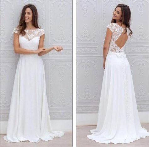 Discount Illusion Lace Cap Sleeves Beach Wedding Dresses 2016 Cecilia Marie Laporte Keyhole Back A Line Lace Applique V Neck Chiffon Court Train Wedding Dress Shopping Wedding Dresses Ball Gown From Bestdavid, &Price;| DHgate.Com