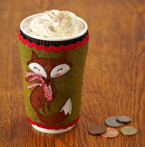 Cute and crafty fox coffee cup cosy - Gathered by Mollie Makes 57: templates
