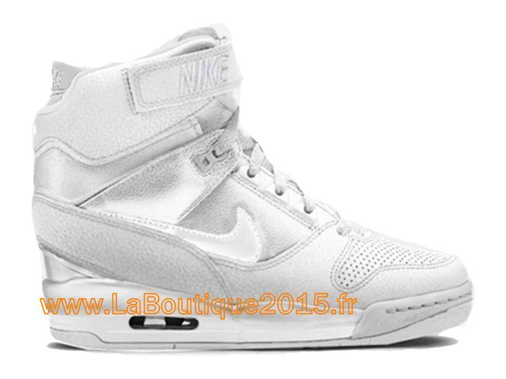 Nike Air Revolution Sky Hi GS 2015 Chaussures Montante Nike Pas Cher Pour Femme Argent Blanc