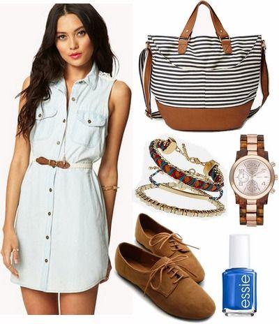 Denim shirtdress - Forever 21, Stripe bag - Forever 21, Bracelets and Watch - Nordstrum, Oxfords - Amazon