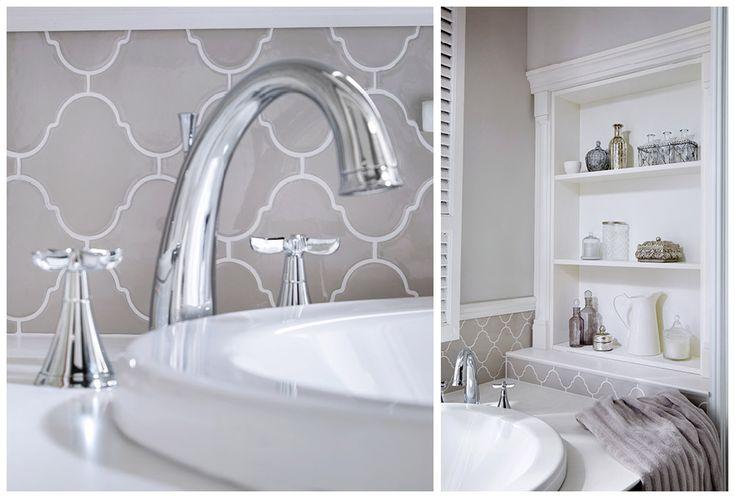Salino bath filler in chrome and tall wall open shelf unit #Roseberry #paintedtimber #bathroomfurniture #myutopia