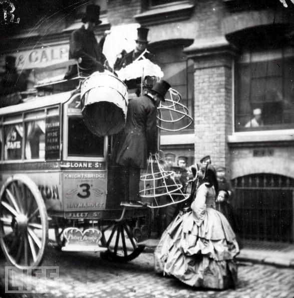 During the mid-19th century, crinolines were so large that women were unable to fit into public transportation without first removing their large hoop-skirts  (via Vintage Photo LJ)