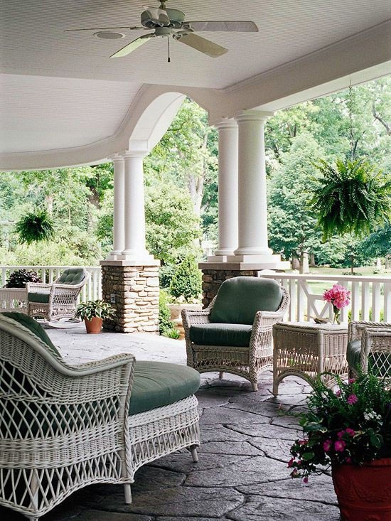 We'd love to relax on this spacious front porch! More pretty outdoor spaces: http://www.bhg.com/home-improvement/porch/outdoor-rooms/pretty-outdoor-living-spaces/?socsrc=bhgpin051812=3Outdoor Living Spaces, Wicker Furniture, Outdoor Room, Back Porches, Covers Porches, Patios, Outdoor Spaces, Front Porches, White Wicker