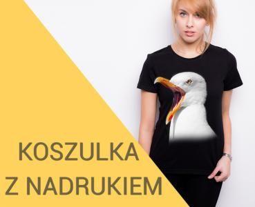 T-shirt z nadrukiem damski koszulka czarna PTAKI