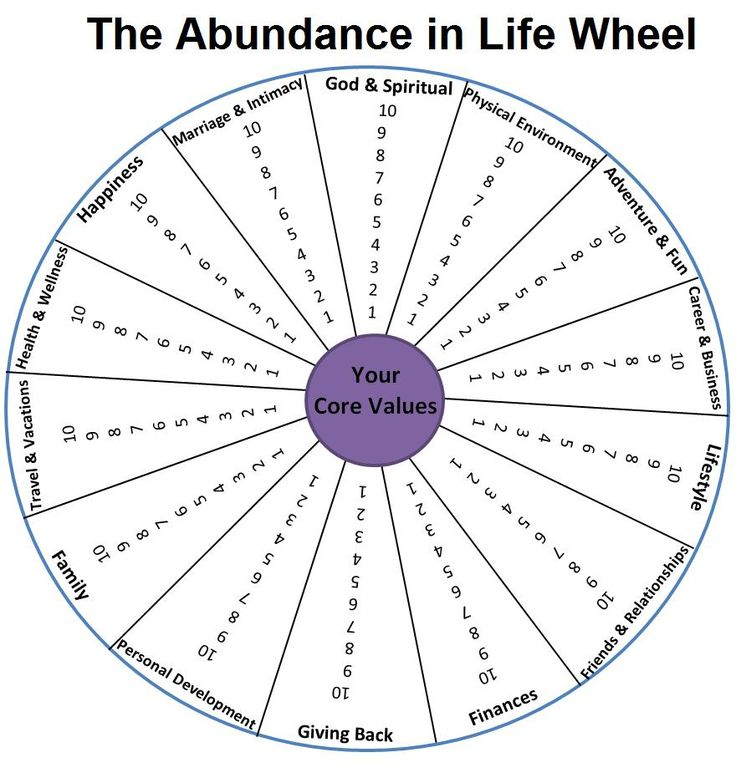 Assessing/reviewing your life exercise - the Abundance wheel. Score yourself out of 10 for each pillar & identify areas for improvement. Great for prioritising & goal setting