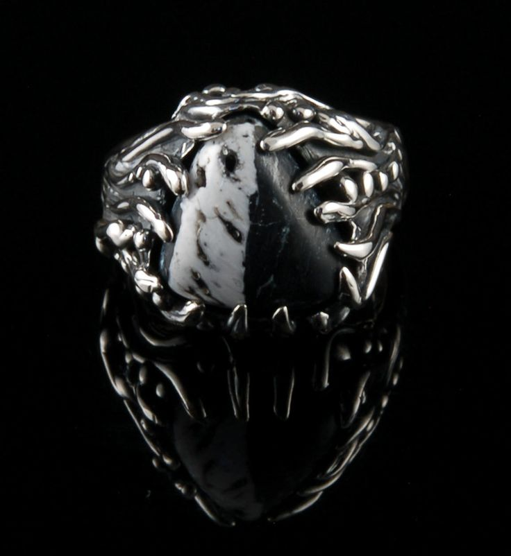 Mens Silver Ring with White Buffalo