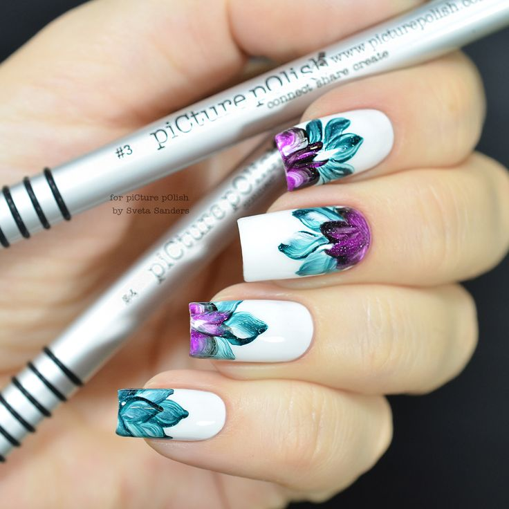 piCture pOlish = Visit YouTube to see the full video tutorial on how to re-create this look. One Stroke Floral using our NEW nail art brushes No. 3 + No. 4 created by Sveta Sanders ❤️ www.picturepolish.com.au