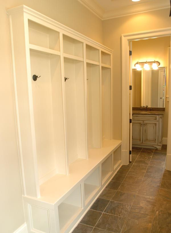 Narrow benches for hallway woodworking projects plans for Basement mudroom ideas