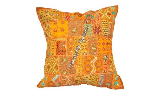 """Indian Ethnic Patchwork Embroidery Traditional Cushion Cover Fabric Throw 24"""""""
