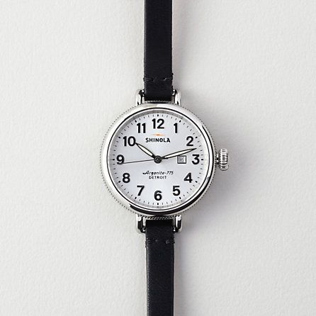 Shinola Birdy 34mm Watch | Women's Accessories | Steven Alan ----- thin, black, leather-banded wrist watch on silver