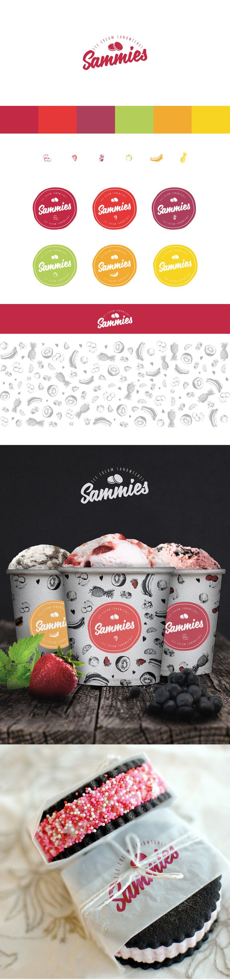 Sammies Ice cream sandwiches logo and some packaging.