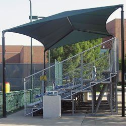 Sun Ports 1100754 Slanted Bleacher Covers Canopy 20 x 26 Canopy Shelters by Sun Ports. $8819.99. Available In Dark Green. Available In Royal Blue. Available In Navy Blue. Available In Scarlet Red. Front is 10'H and rear is 13'H. Perfect for providing safety and comfort by protecting spectators from foul balls and excessive sunlight. Our Bleacher Covers are available in five colors and many designs to meet your needs. All units feature durable black powder-coated steel posts des...