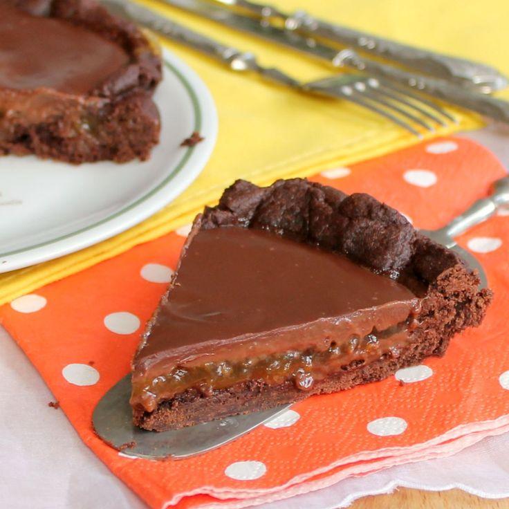 CROSTATA SACHER facile con marmellata e ganache al cioccolato