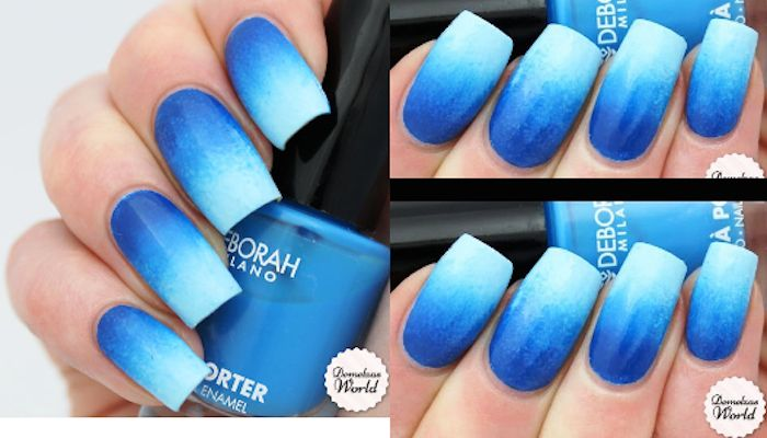 Blue Ombre Nails – step by step tutorial