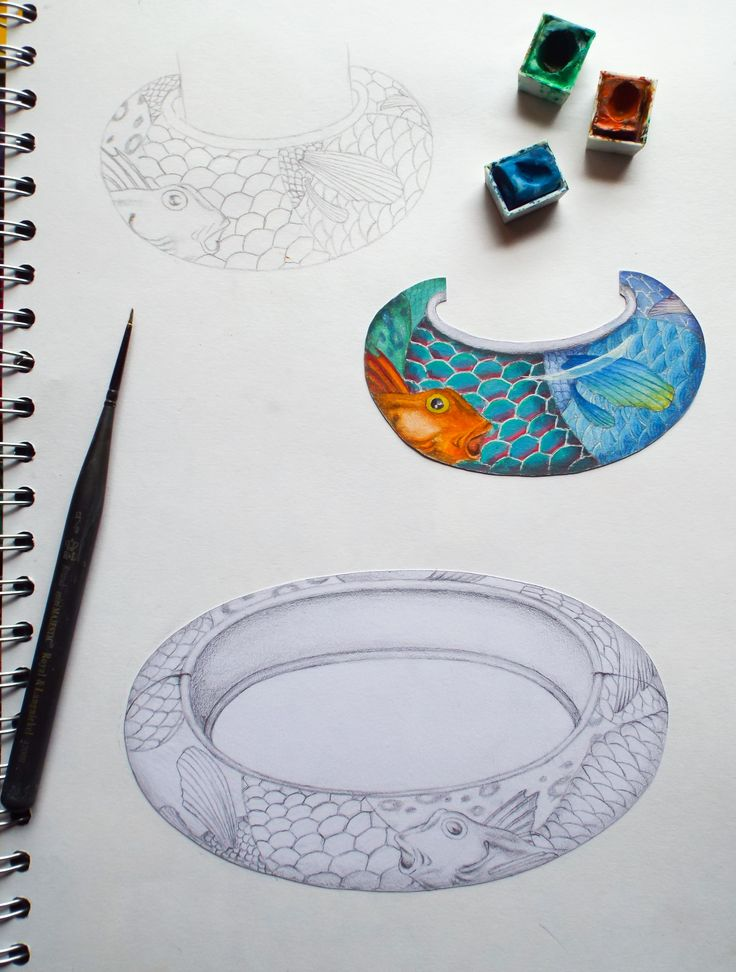 Jewellery designs by jeweller and enameler Naomi Nevill. Part of her 'patterns from nature' collection this bracelet and necklet are inspired by macro shots of fish scales and fins, using bright colours and intricate patterns in vitreous enamel Naomi creates bold statement pieces.