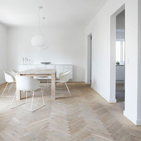 Love the chevron floors: Dining Rooms, Scandinavian Interiors, Interiors Design, Wood Floors, House, White Interiors, Herringbone Wood, Herringbone Floors, White Wall