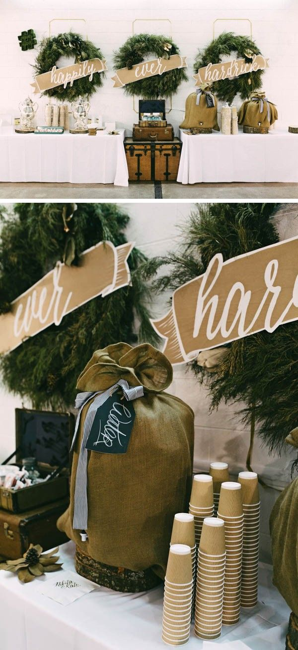 A winter-inspired coffee bar with burlap and evergreen decor | Image by Kelly Gin Photography