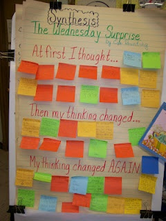 Synthesizing with The Wednesday Surprise  Each year I use The Wednesday Surprise by Eve Bunting to do a lesson on synthesis. Synthesis is when your thinking changes during reading. This book is a great choice because it is short and sweet and your thinking changes quite drastically from the beginning to the end.