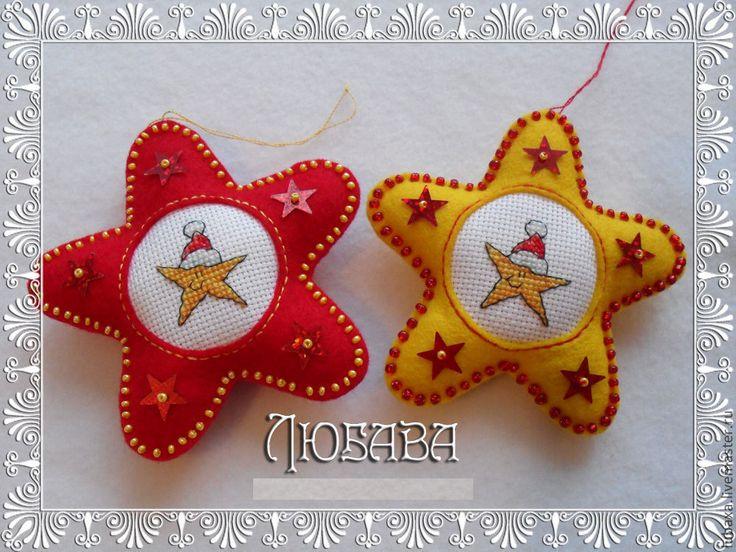 Купить Ёлочные украшения из фетра с вышивкой - елочные игрушки, елочные украшения, игрушки из фетра