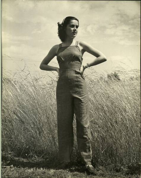 1940s overalls sportswear work clothing pants trousers summer found photo girl casual vintage clothing